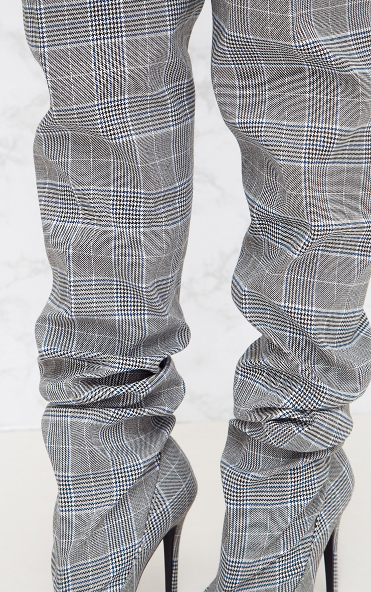 Grey Check Heeled Slouch Boots 6