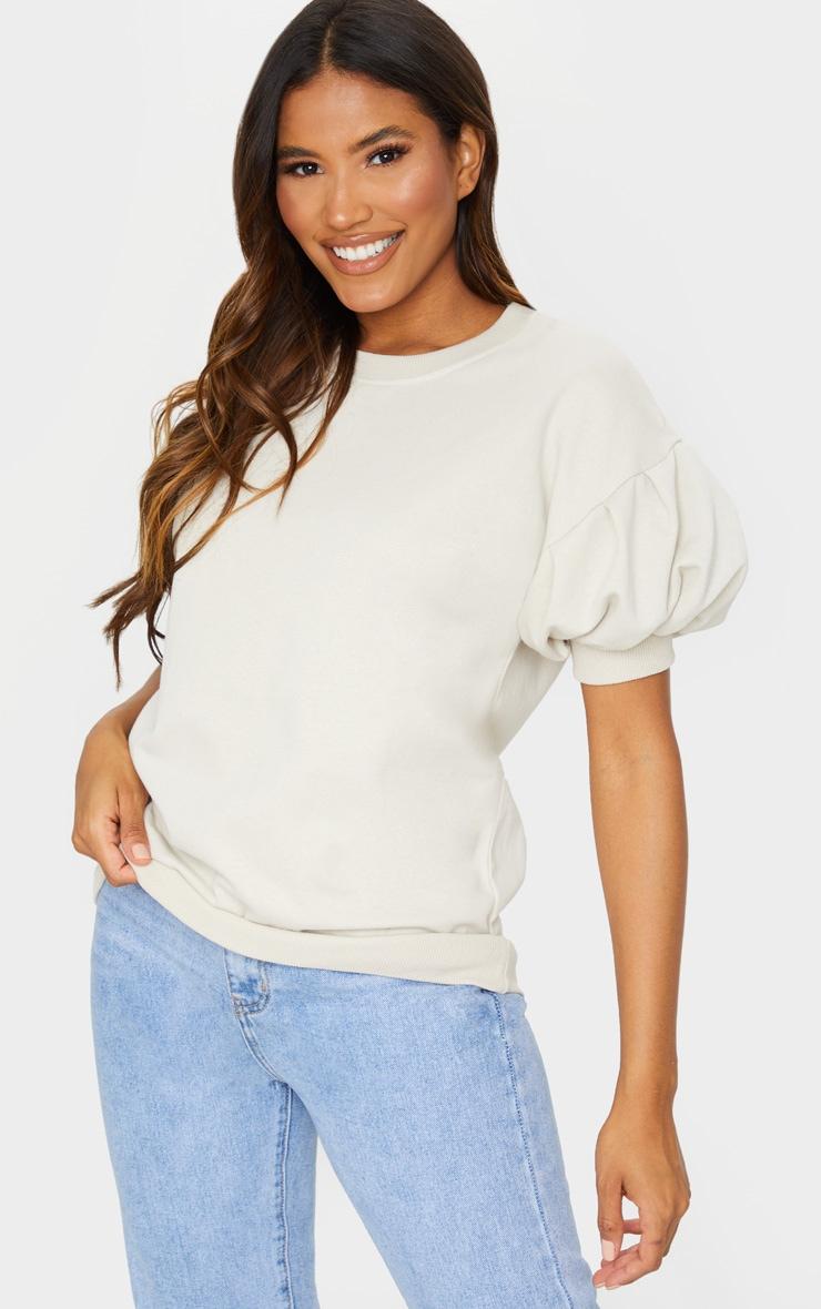Oatmeal Pleated Short Sleeve Sweatshirt 1