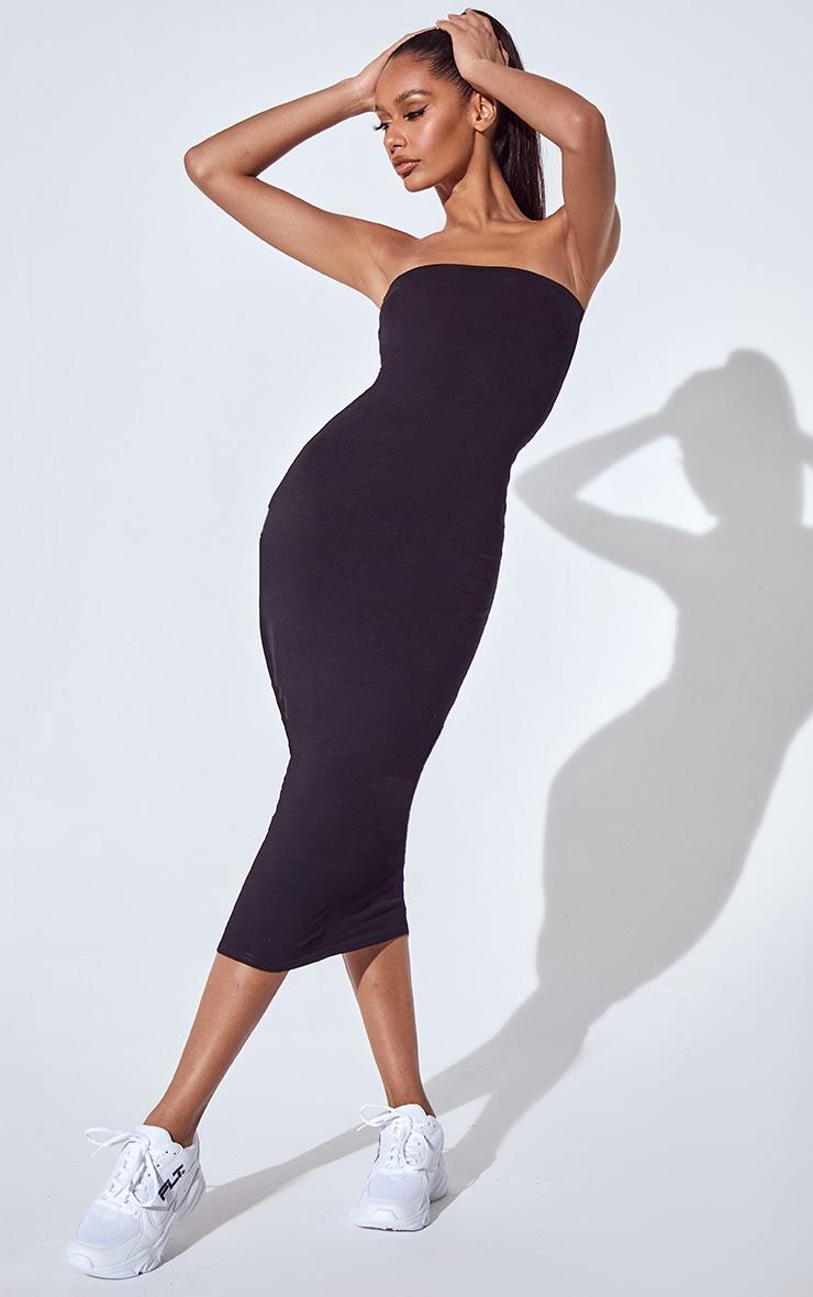 PLT Essentiel - Longue robe bandeau noire basique 1