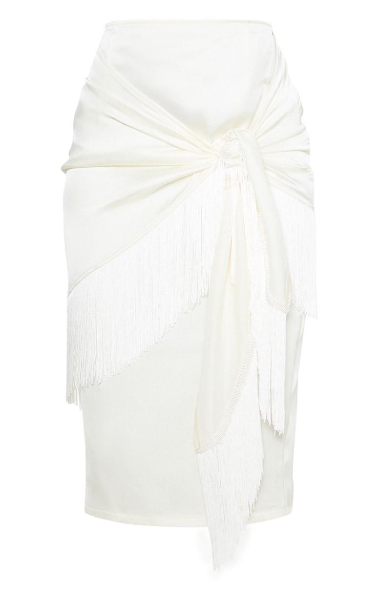 Cream Satin Fringe Trim Tie Wrap Midi Skirt  3