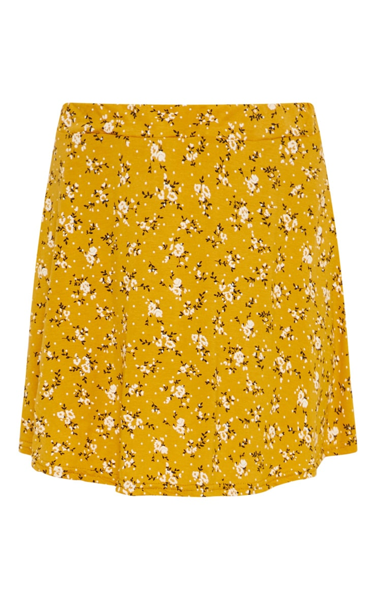 Mustard Ditsy Floral Skater Skirt 3