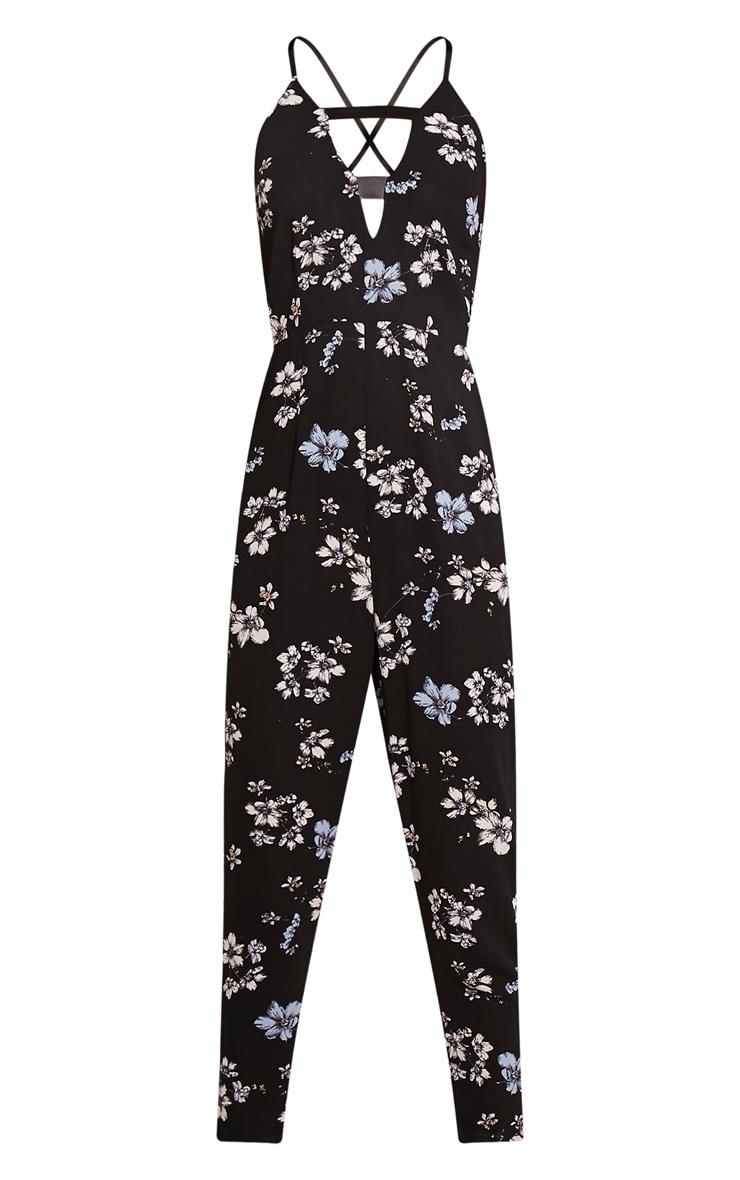 Bree Black Floral Print PU Strap Cropped Leg Jumpsuit 3