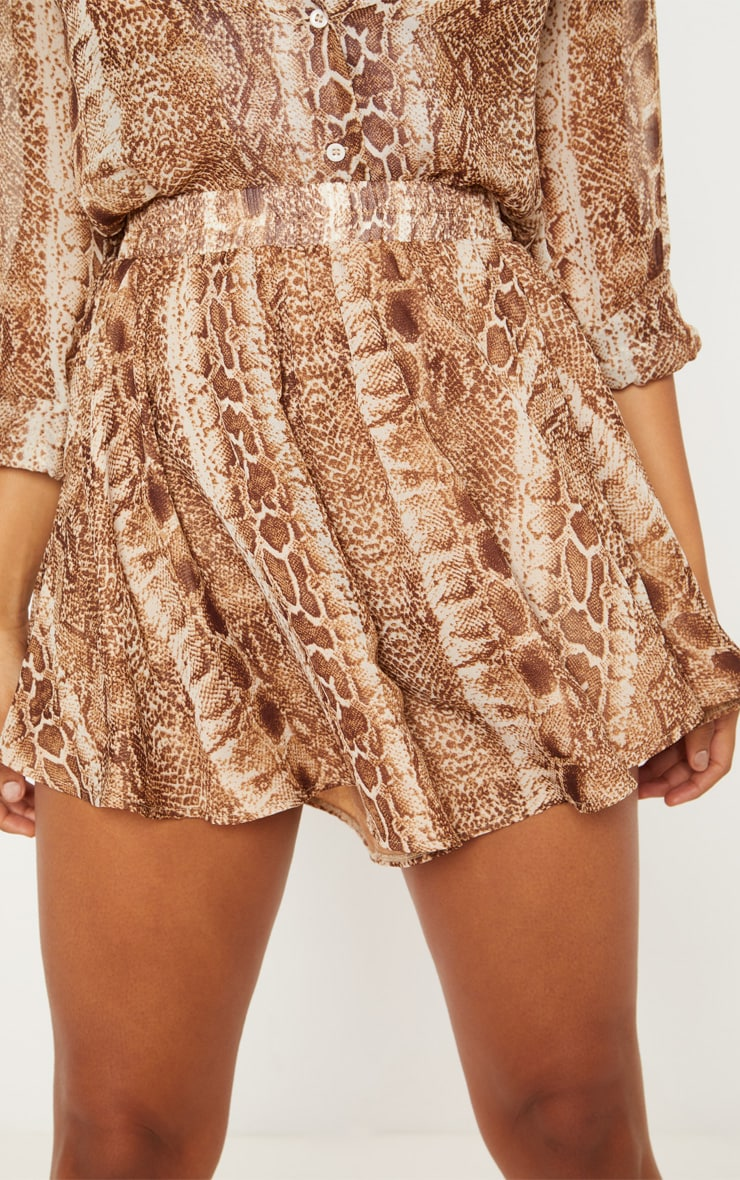 Tall Brown Snake Print Floaty Shorts 6