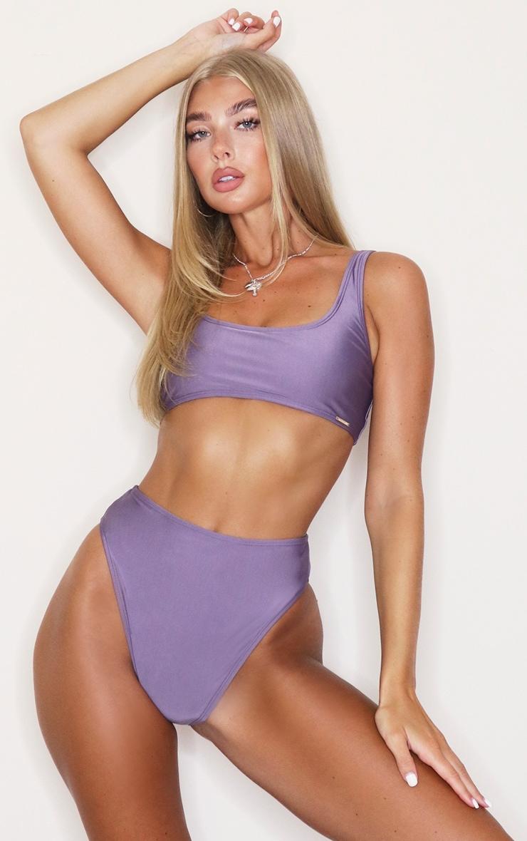 Aubergine Mix & Match Square Scoop Neck Bikini Top 1