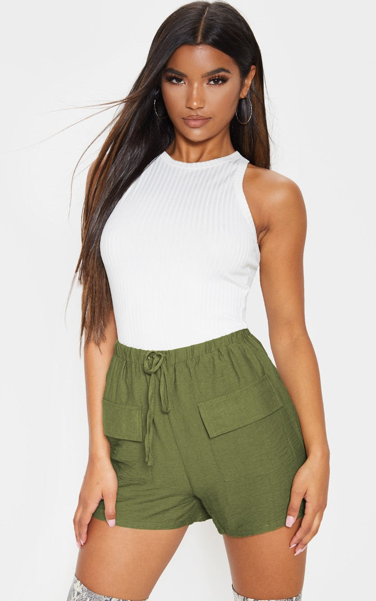 Khaki Woven Pocket Front Drawstring Short 1