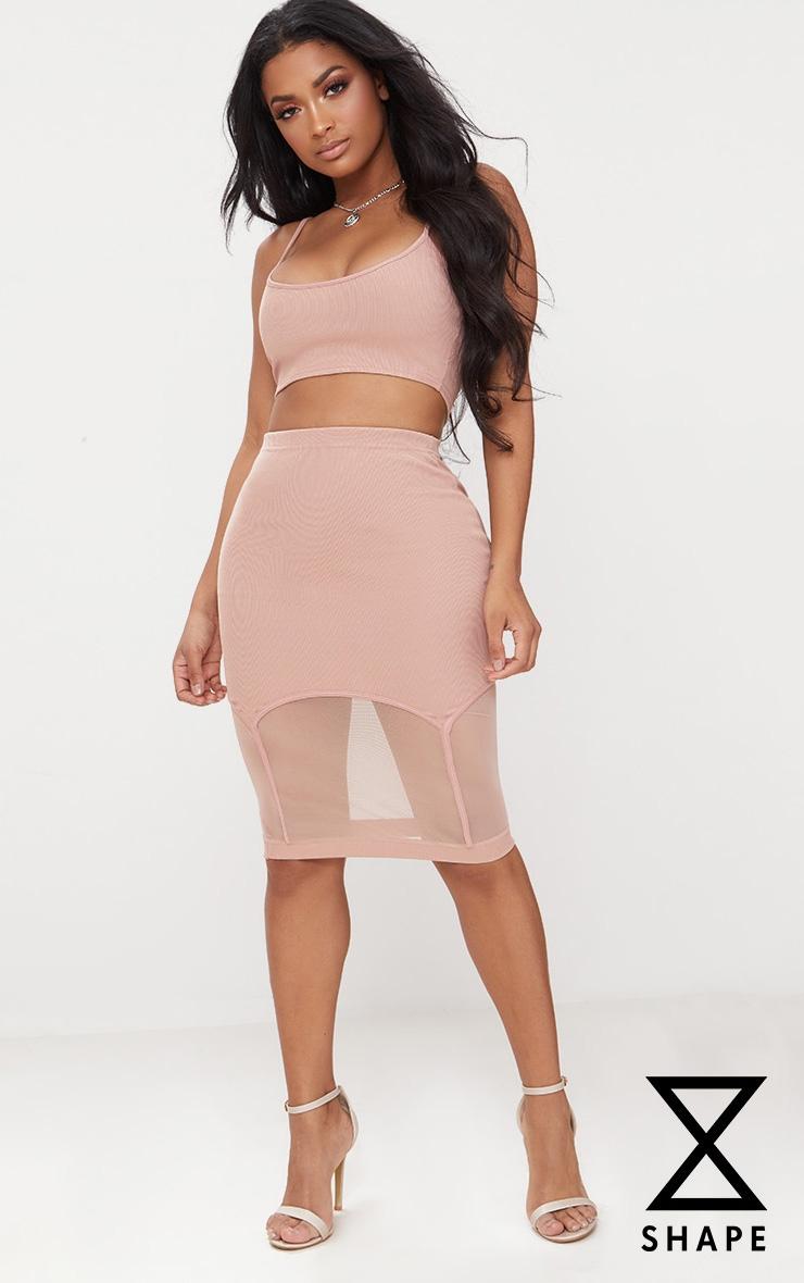 Shape Mocha Ribbed Bandage Mesh Insert Midi Skirt 1