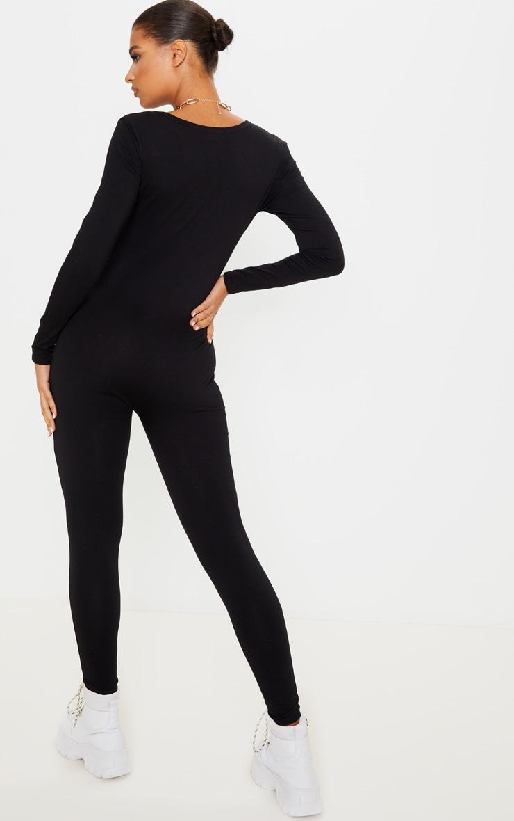 Black Seamless Cotton Elastane V Neck Jumpsuit 2
