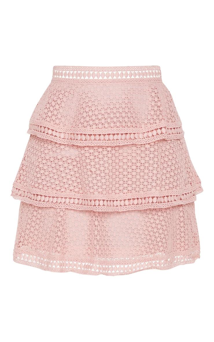 Pink Crochet Tiered Frill Mini Skirt 3
