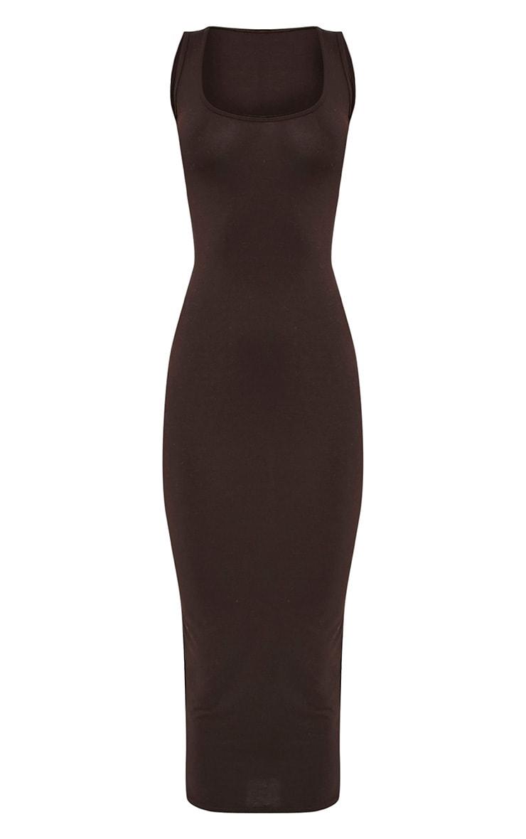 Mirah Brown Scoop Neck Midaxi Dress 3