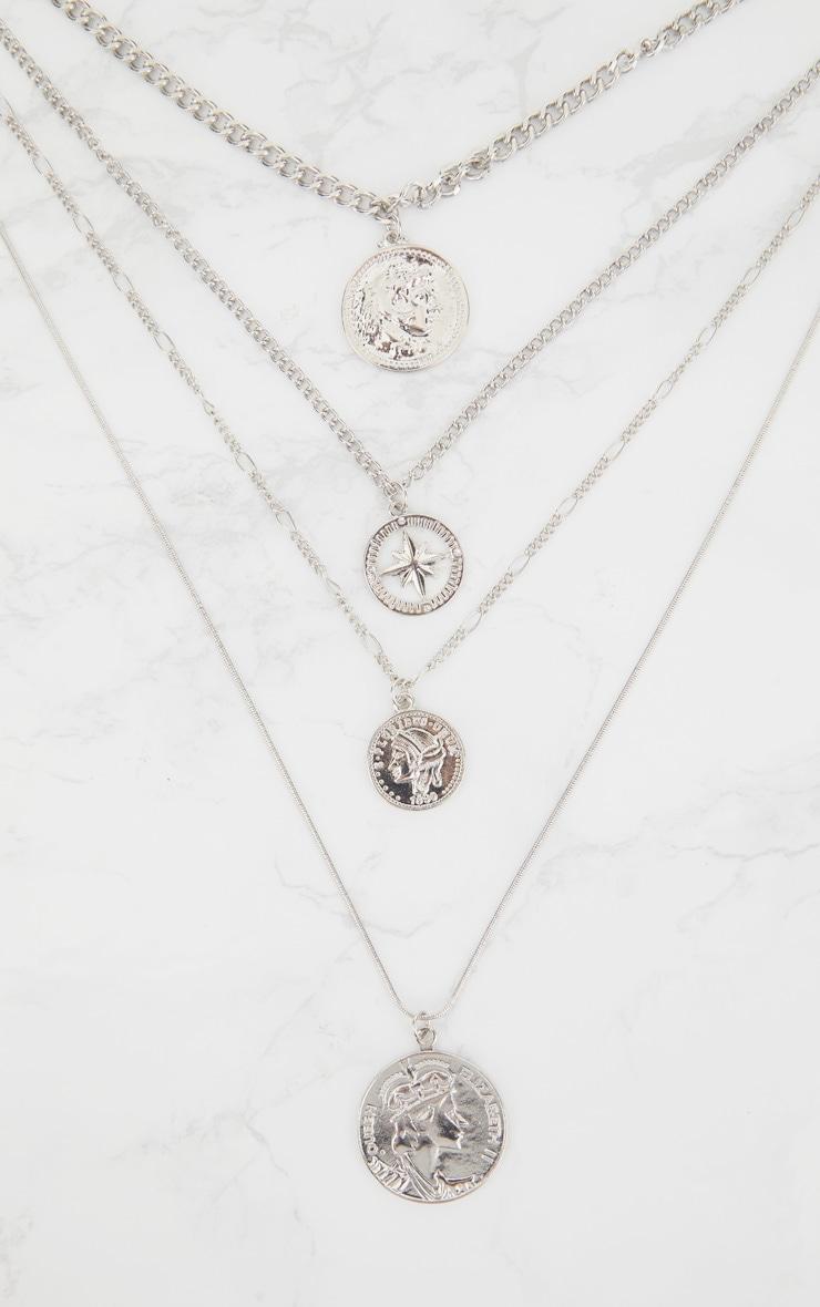 Silver Renaissance Four Layer Compass Coin Necklace 3