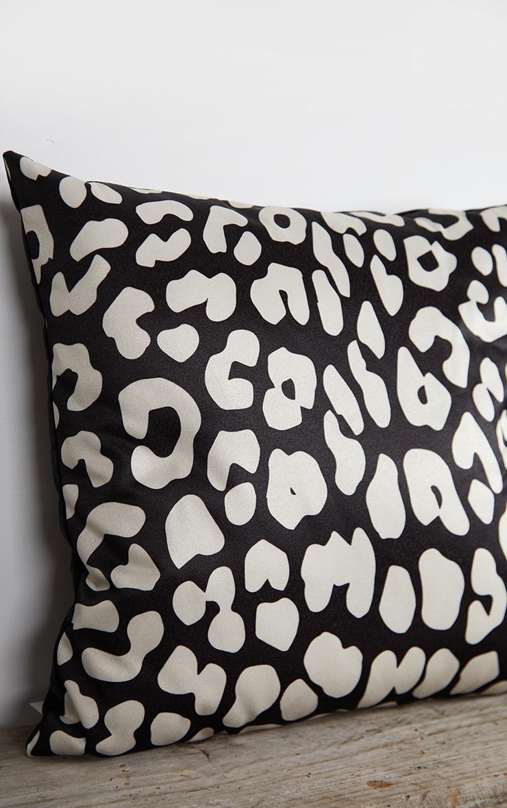 Black Satin Leopard Print Filled Cushion 4