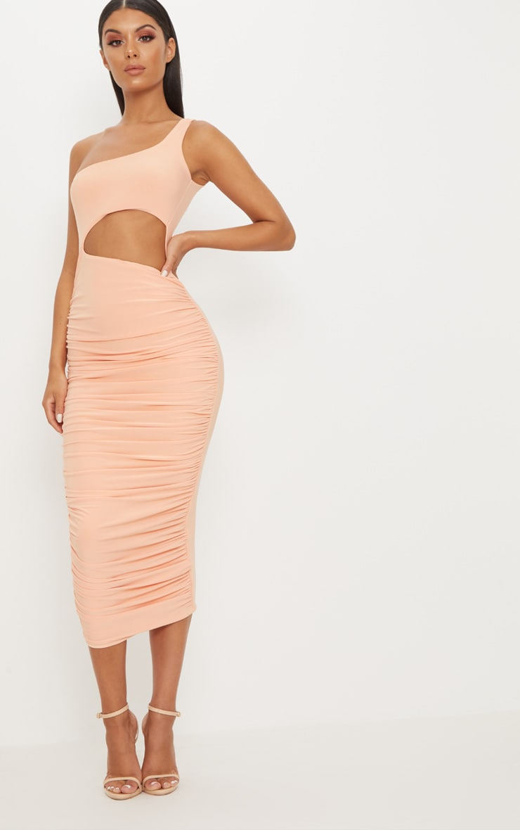 Tangerine Double Layer Slinky One Shoulder Cut Out Detail Ruched Midaxi Dress