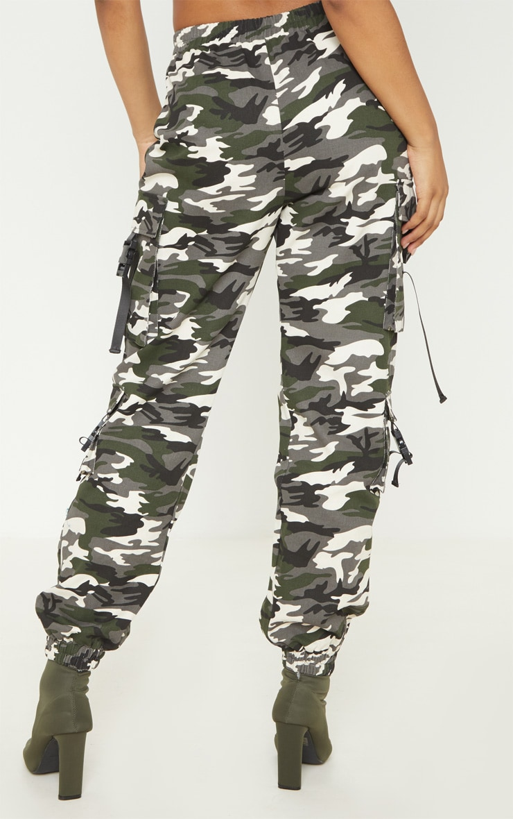 Tall Grey Camo Pocket Detail Cargo Trousers 4