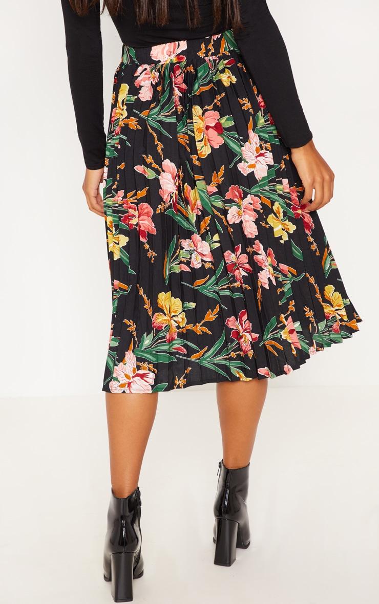 Black Floral Printed Pleated Midi Skirt 4