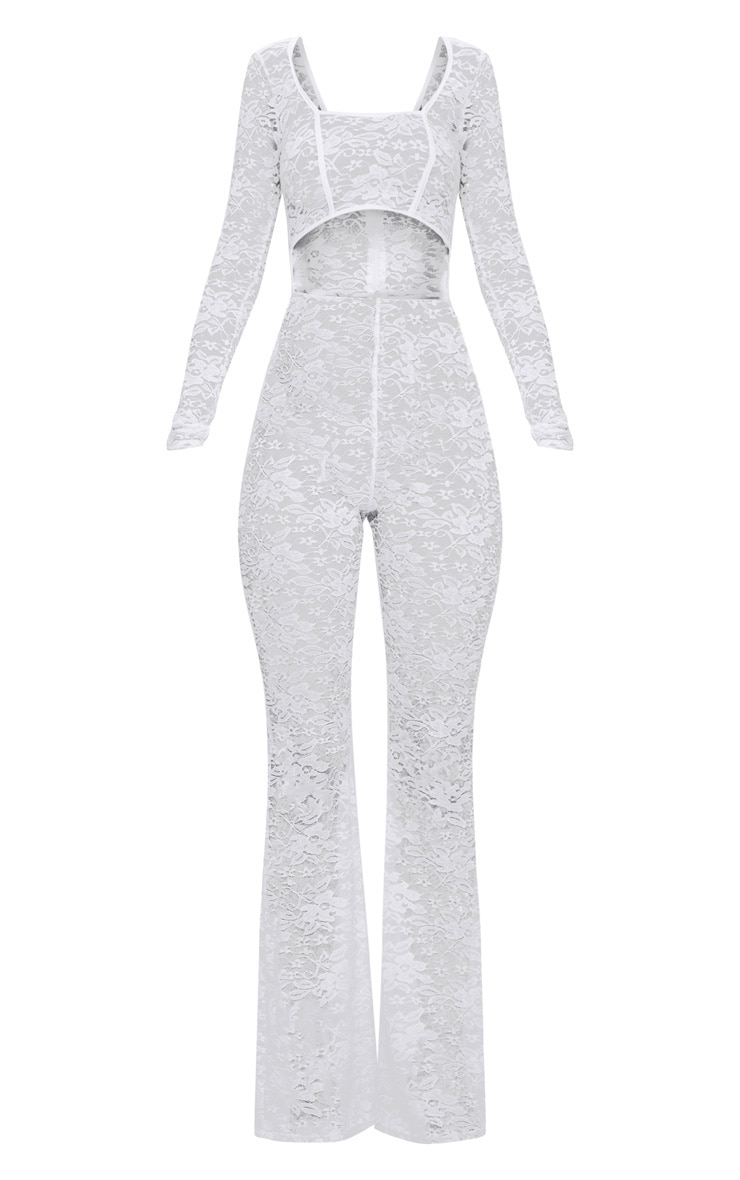 White Lace Long Sleeve Binded Jumpsuit 3