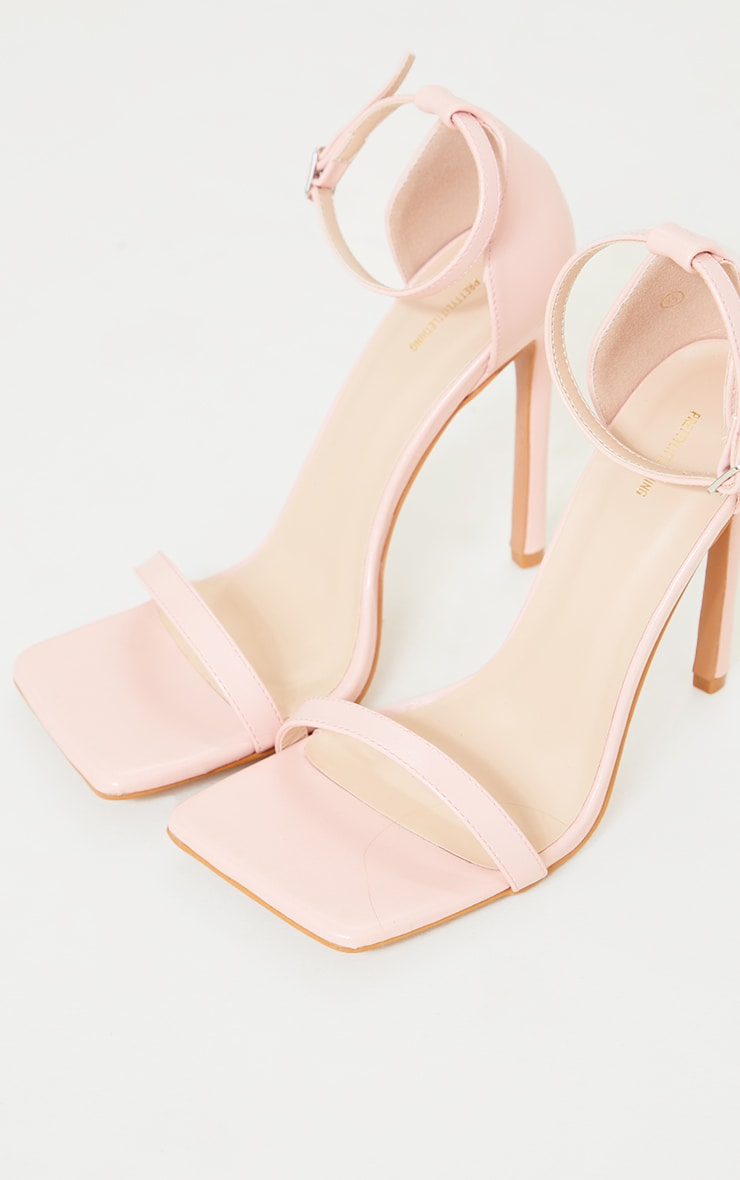 Pink PU Barely There Strappy Heeled Sandals 3