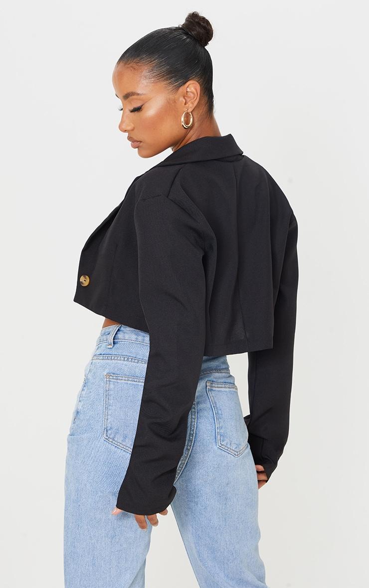 Black Woven Cropped Blazer 2