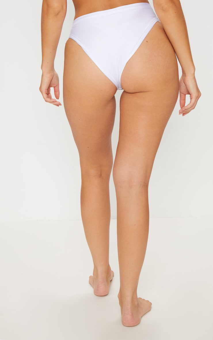 White Cut Out Bikini Bottom 4