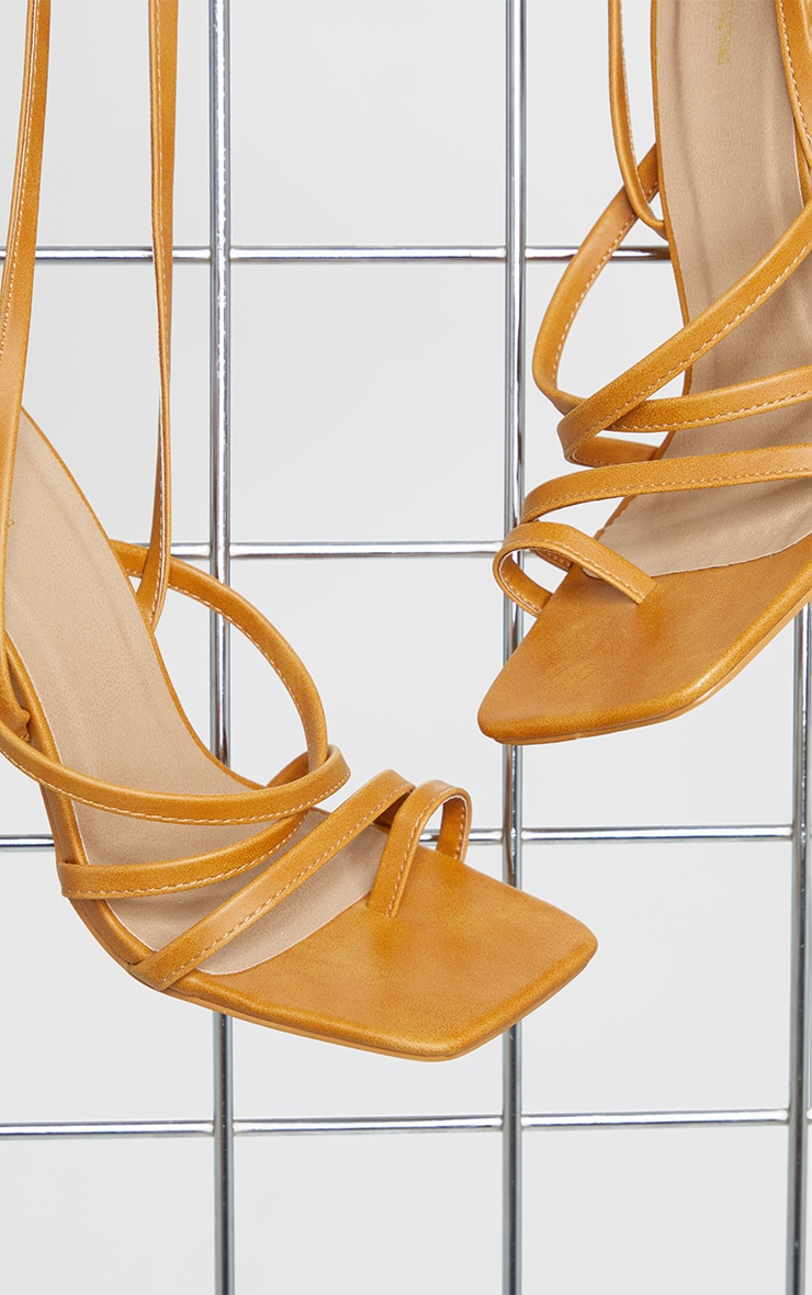 Sand Square Toe Strappy Lace Up High Heeled Sandals 4
