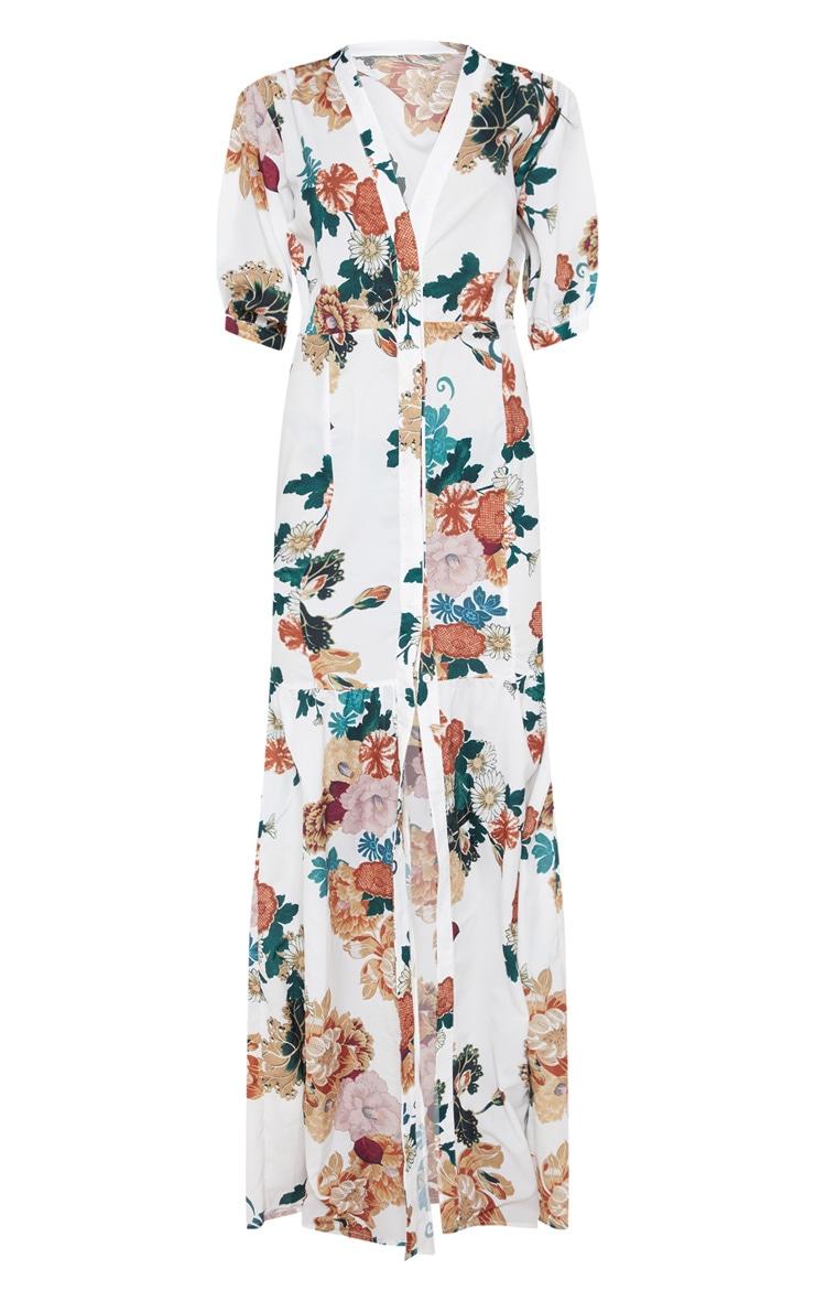 White Floral Button Front Split Maxi Dress 3