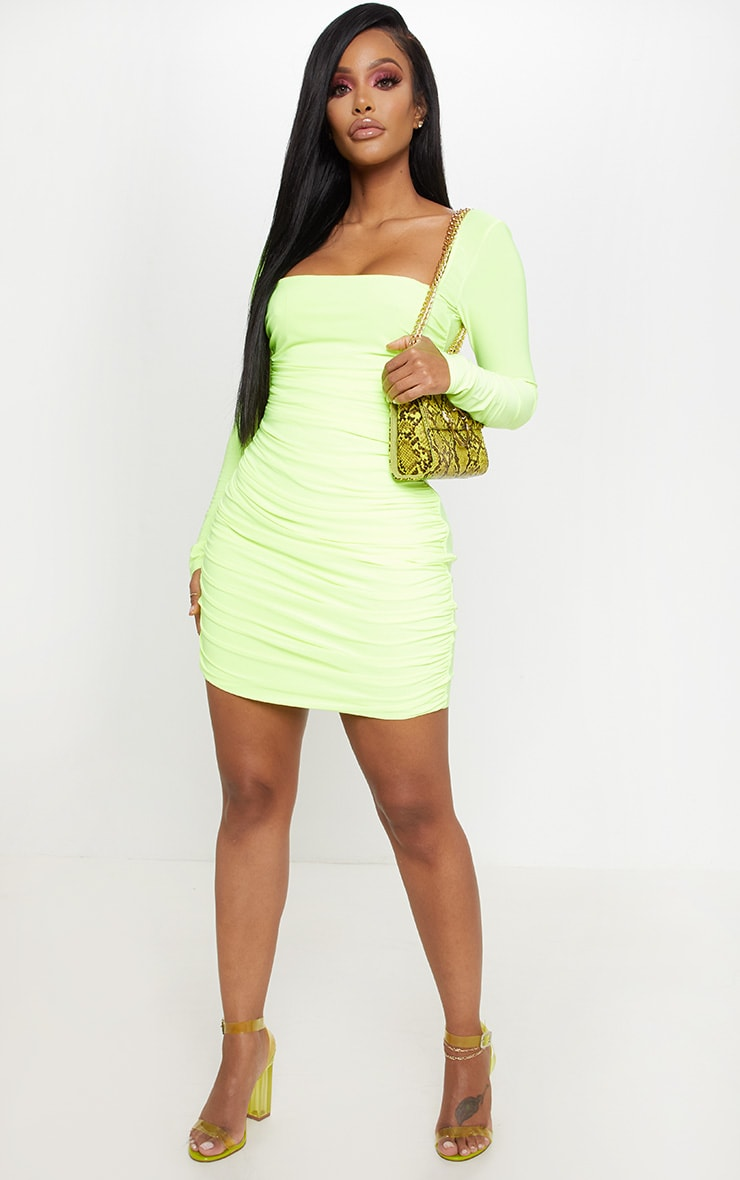 Shape Neon Yellow Slinky Square Neck Ruched Front Bodycon Dress 4