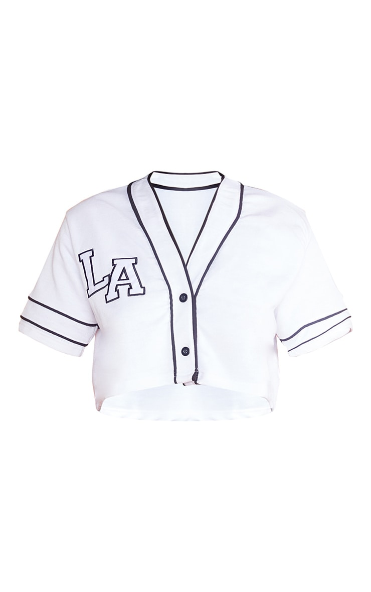 White LA Cropped Jersey Top 5