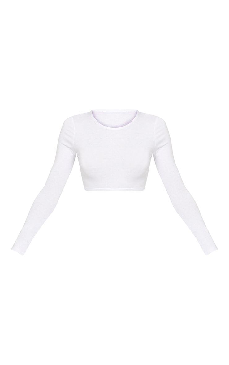 Ali top court manches longues en jersey blanc 3