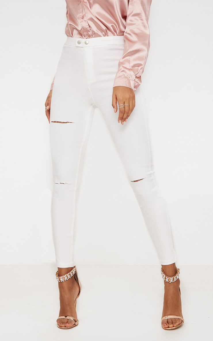 White Double Button Disco Skinny Jean 2