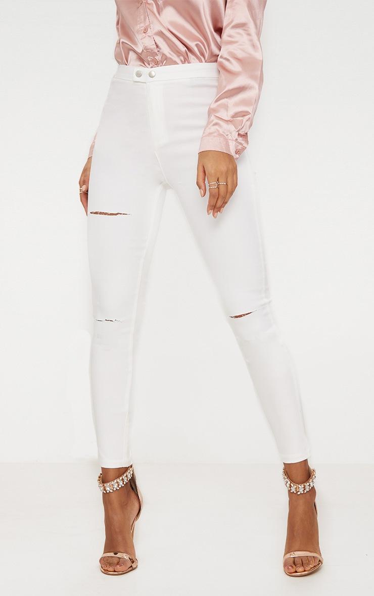 Jean disco skinny blanc à double boutons 2