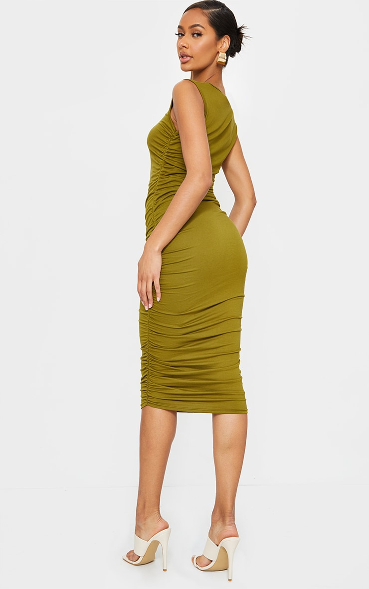 Olive Sleeveless Crew Neck Ruched Side Midi Dress 2