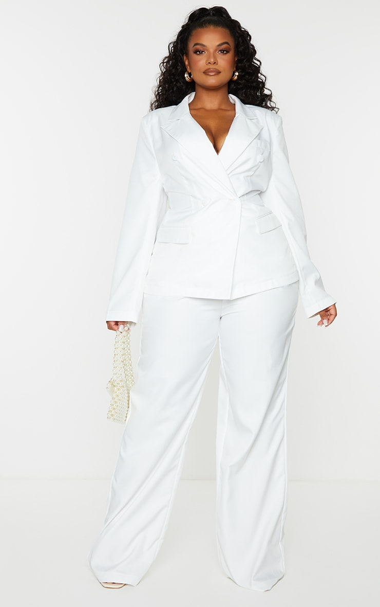 Plus White Woven Double Breasted Shoulder Pad Blazer 3