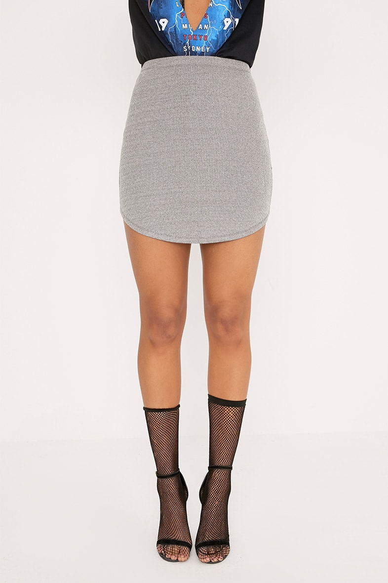 Shayla Grey Marl Ribbed Curve Hem Mini Skirt 4