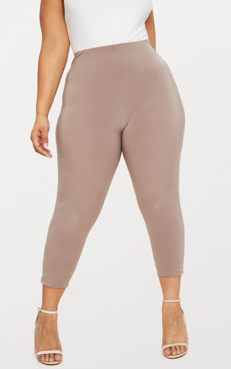 Plus Second Skin Taupe Slinky Cropped Leggings 2