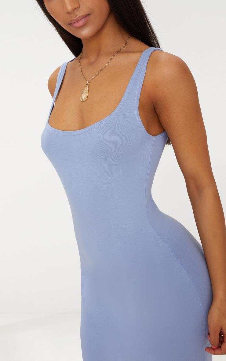 Robe moulante basique bleu cendré à col carré 5