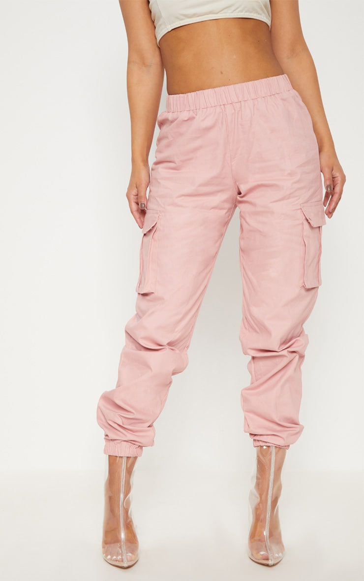 PETITE DUSTY PINK POCKET DETAIL CARGO TROUSERS