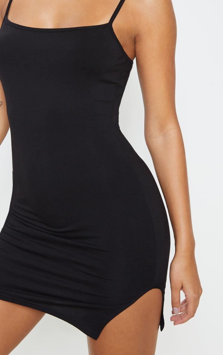 Black Square Neck Strappy Split Bodycon Dress 5
