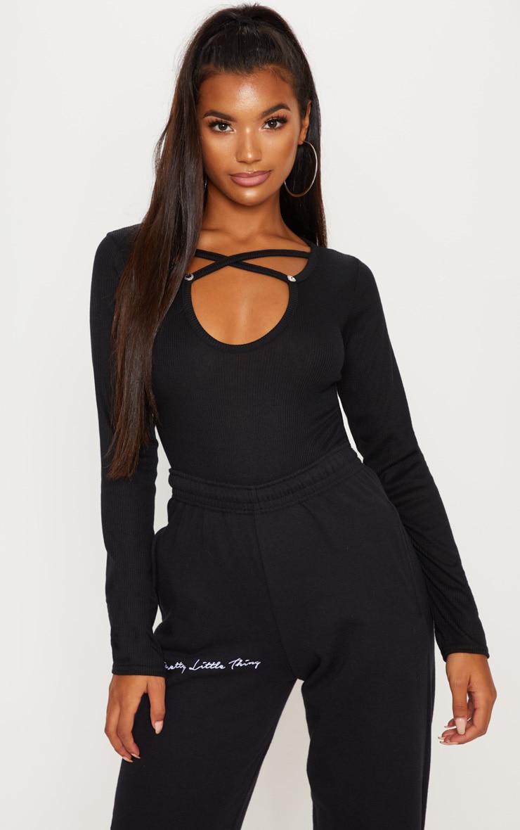 Black Keyhole Wrap Front Bodysuit