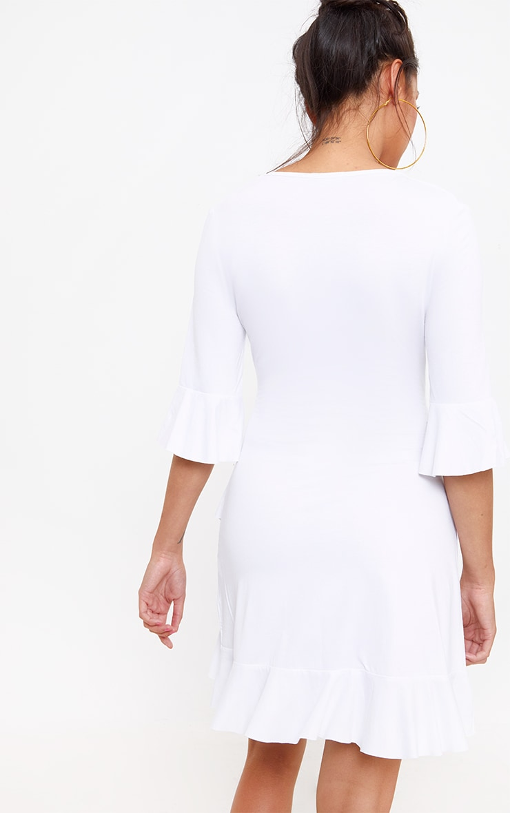 White Frill Tie Front Shift Dress 2