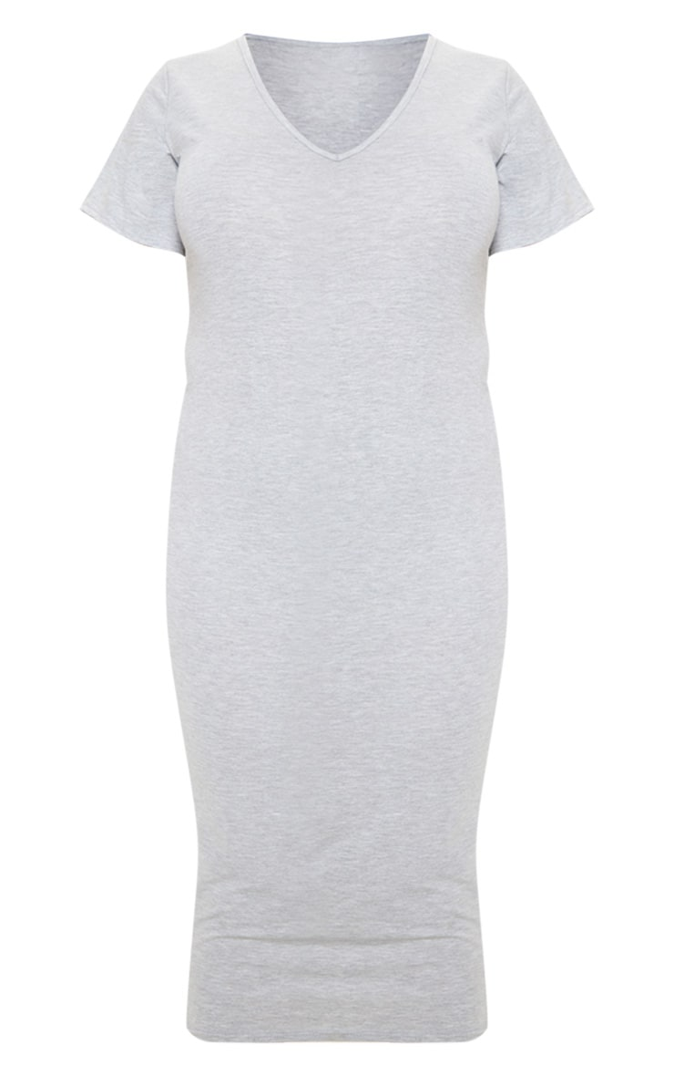 Plus Grey Marl Jersey V Neck T- Shirt Midi Dress 3