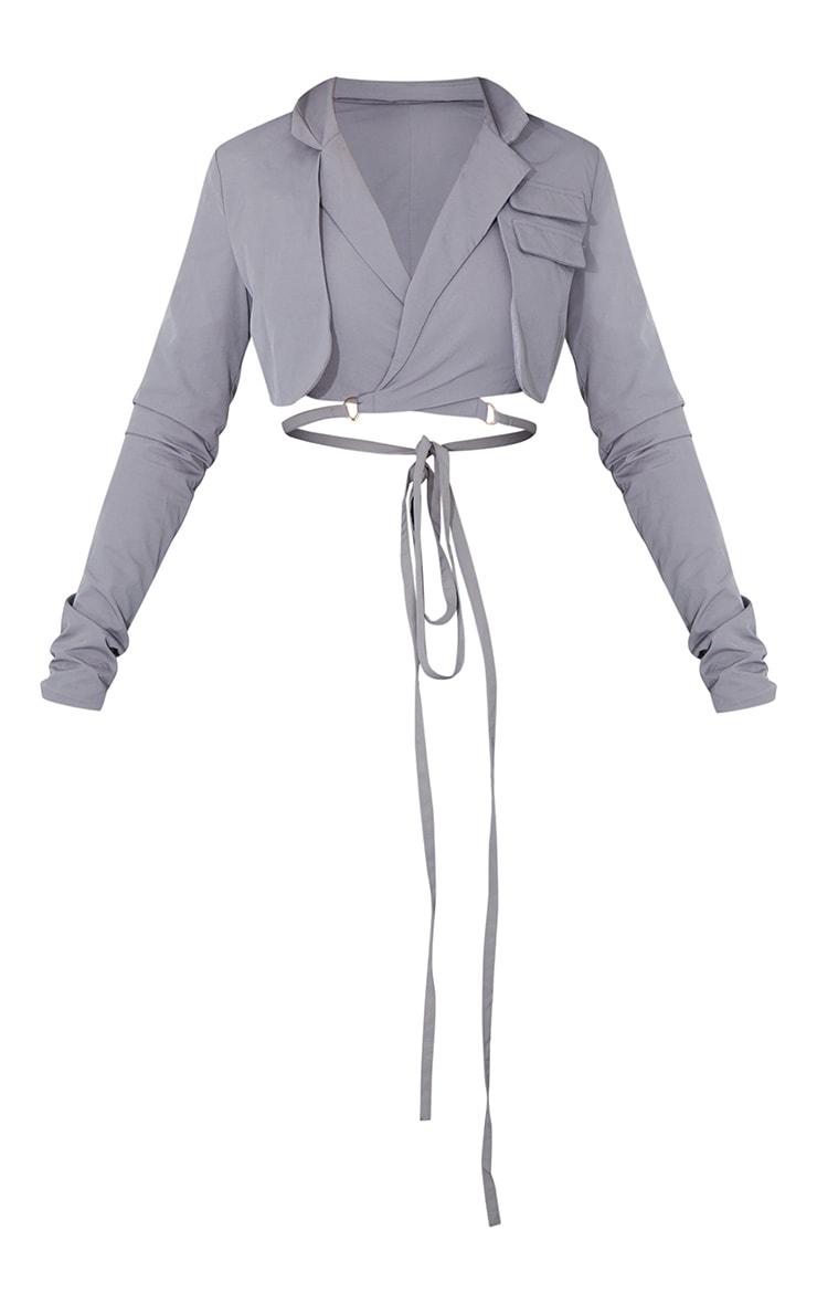 Grey Woven Super Cropped Tie Waist Blazer 5