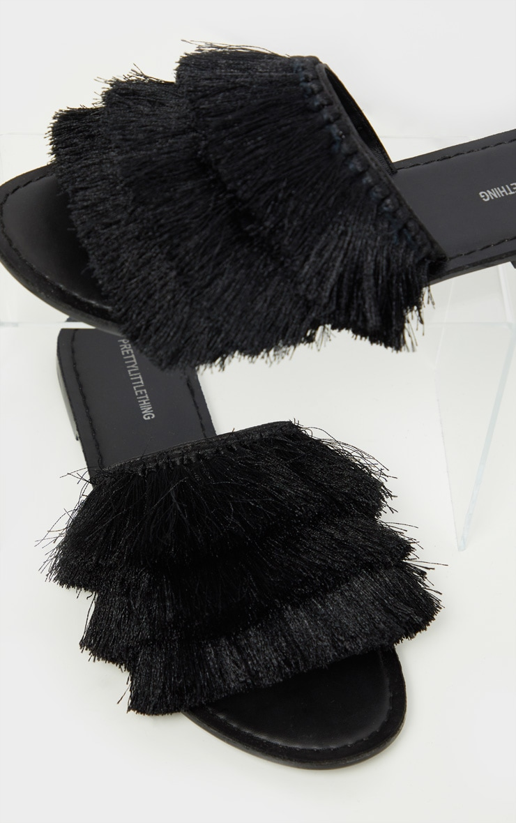 Black Fringe Mule Sandal 4
