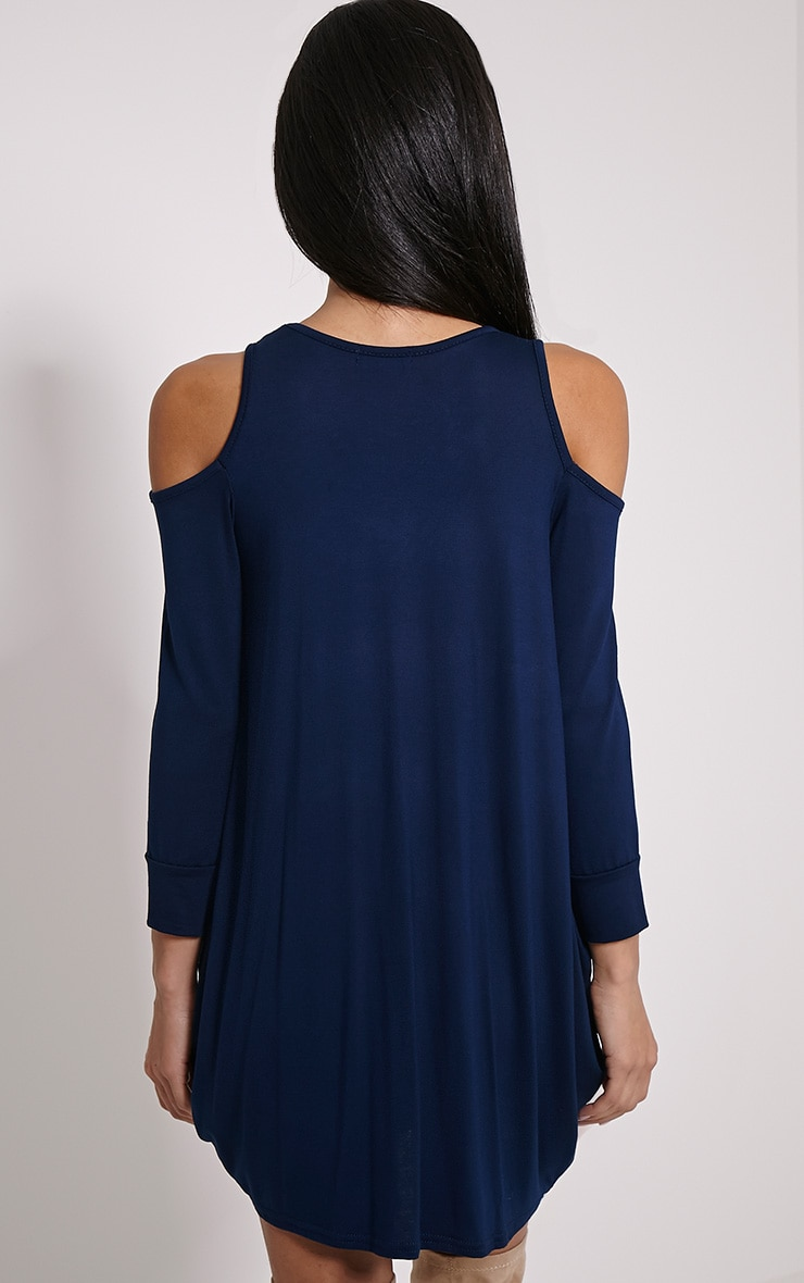 Bronywn Navy Cut Out Shoulder Dress 2