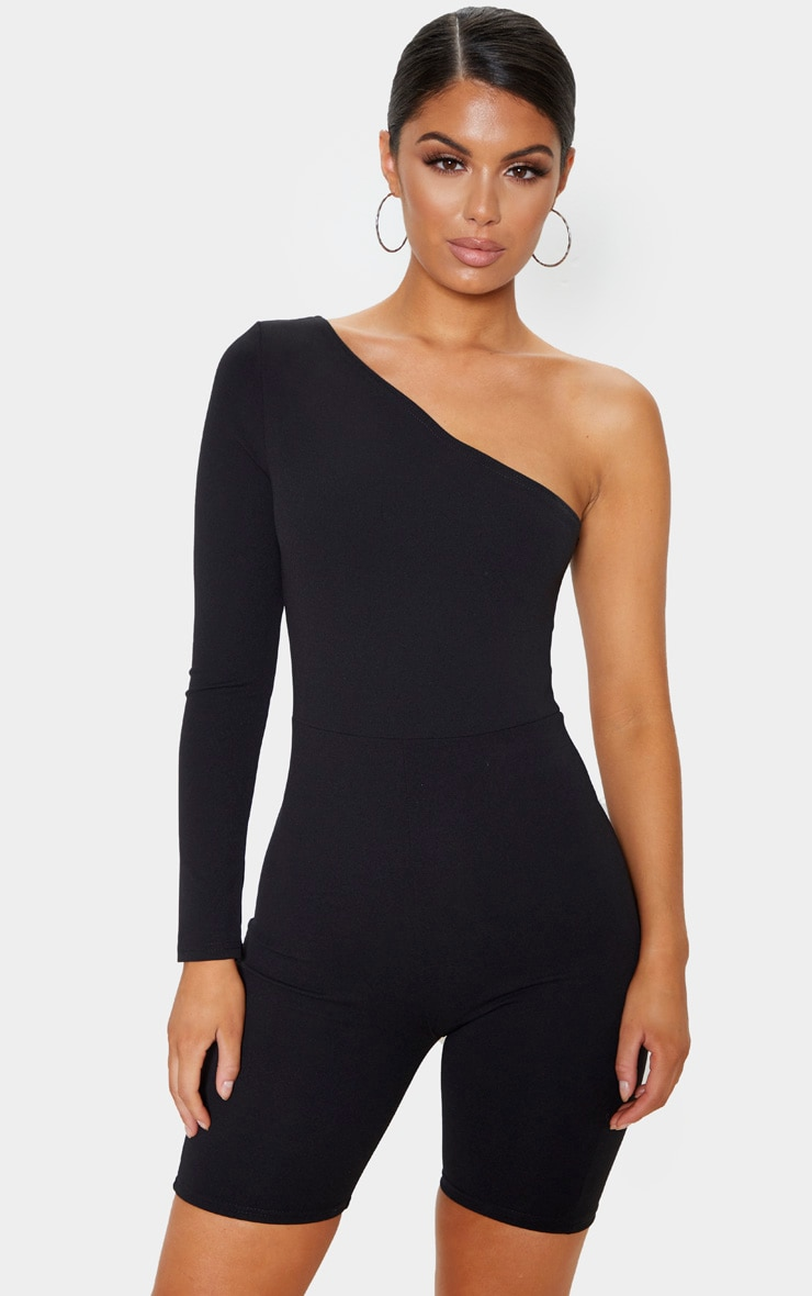 Black Long Sleeve One Shoulder Unitard 1