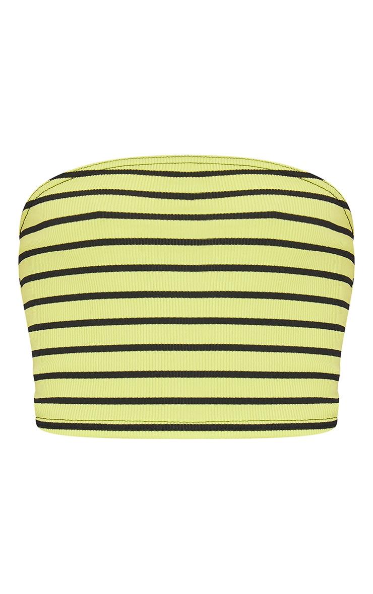 Lime Basic Ribbed Stripe Bandeau Crop Top 5