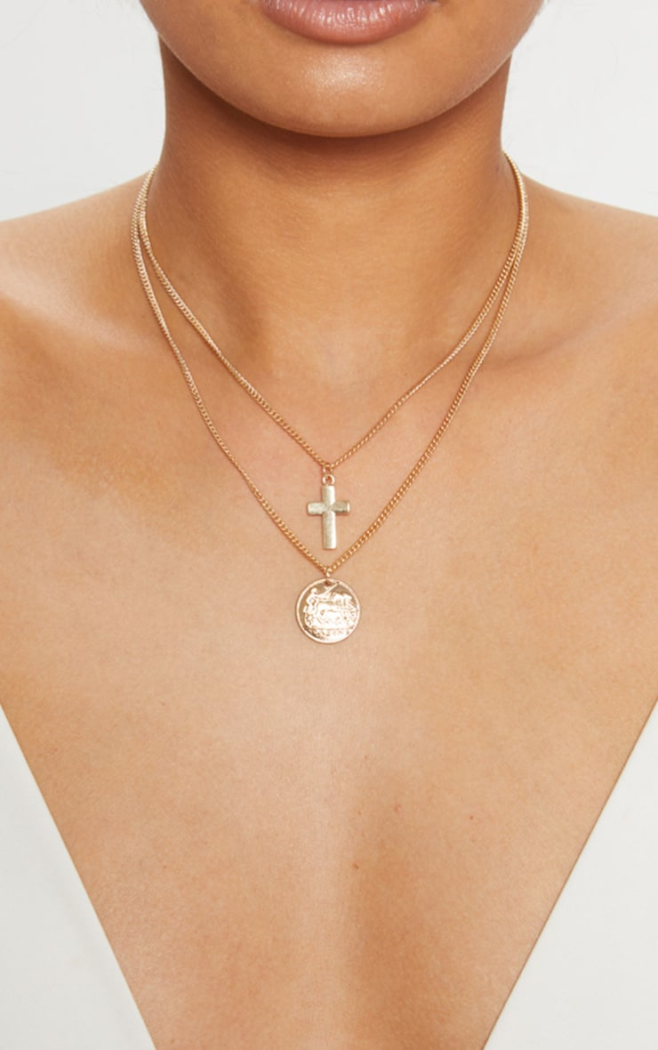Gold Coin Chunky Cross Double Layer Necklace 1