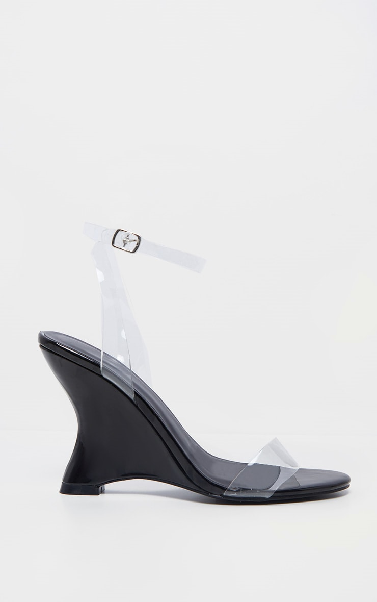 Black Patent Clear Strap Wedge 4