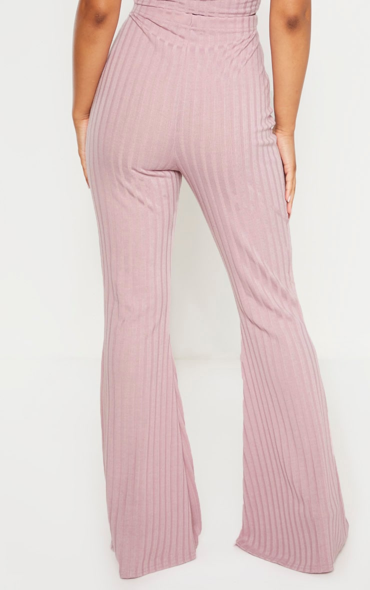 Petite Dusty Lilac Ribbed Flares  4