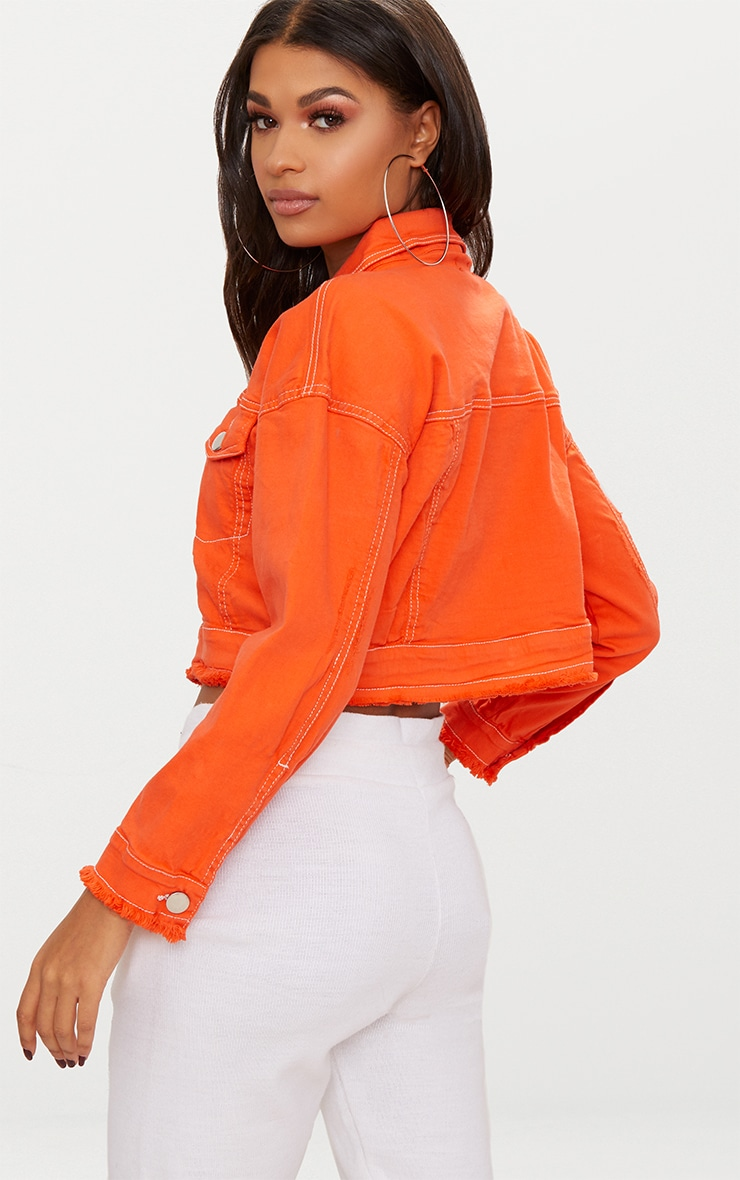 Bright Orange Cropped Denim Jacket 2