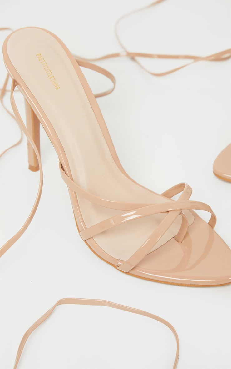 Nude Point Toe Thong Strappy High Heel Sandal 4