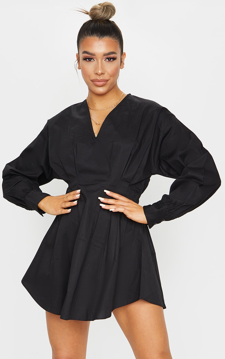 Black Woven V Neck Pleated Waist Shirt Dress 3
